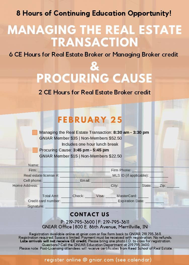 ManagingTheRealEstateTransaction ProcuringCause FEB2021 Flyer page 001